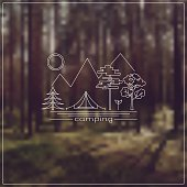 Thin Line vector camping emblem. Outdoor activity symbol with on blured forest landscape background.