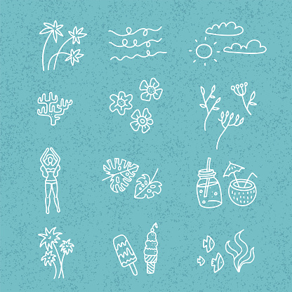 Line vector hand drawn doodle cartoon set of summer time season objects and symbols on blie textured backgound. Linear art collection - cocktails, flower, palm leaves, icecream.