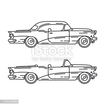 Line vector icon set american cabriolet auto oldtimer. Classic 1950s style. Nostalgia antique automobile. Summer travel vacation. Vintage sport car. Highway legends. Collection. Illustration clipart.