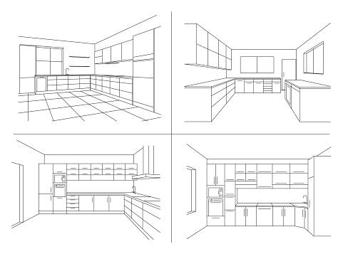 KITCHEN INTERIOR SKETCHES. Line vector illustration of modern kitchen with furniture.