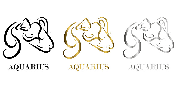 Line vector logo of Athlete It is sign of Aquarius zodiac there are three color black gold silver
