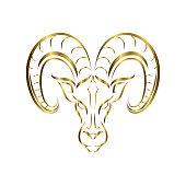 istock Line vector logo of ram head. It is sign of Aries zodiac. 1310549195