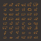 Line vector pets, wild and farm animals