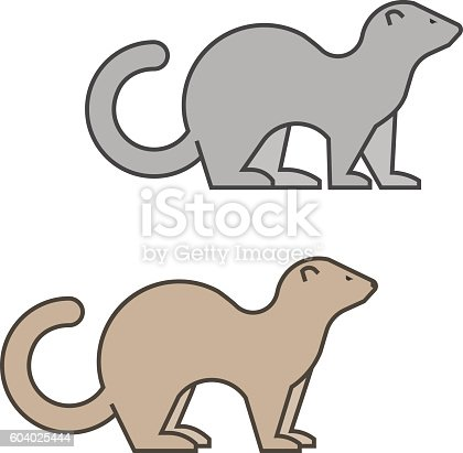 Line vector silhouette of a ferret