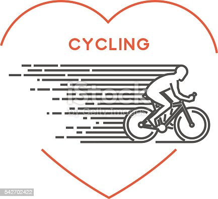 Line Vector Symbol For Cycling With Open Path Stock Vector Art