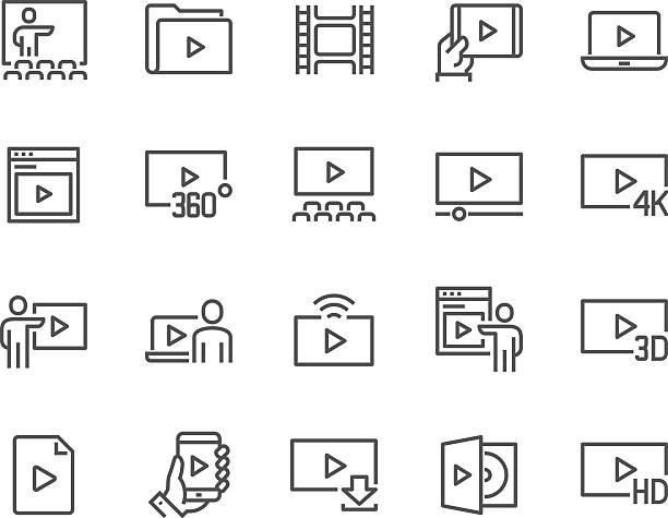 stockillustraties, clipart, cartoons en iconen met line video icons - youtube