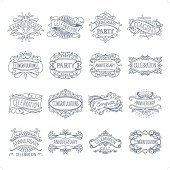 A set of 16 vintage frame in simple line drawing style with hand drawn text.
