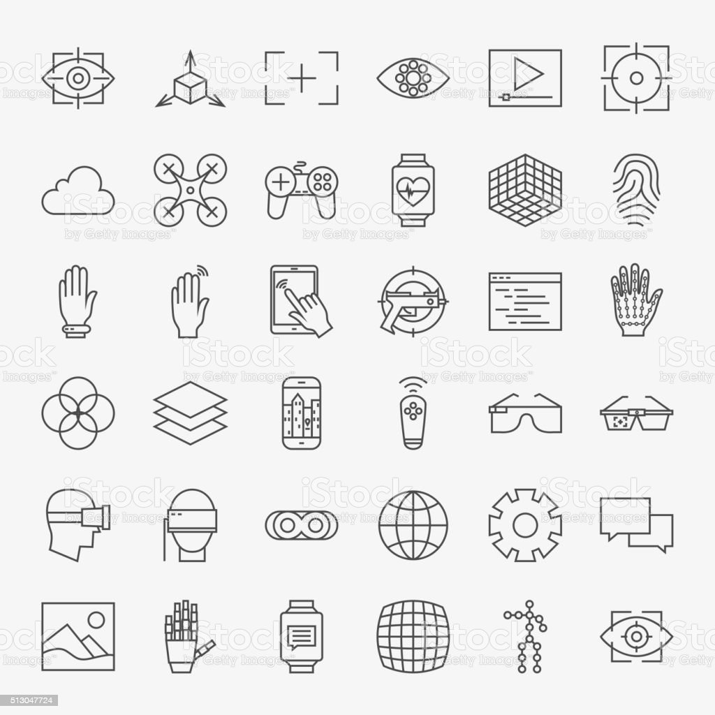 Line Virtual Reality Design Icons Big Set vector art illustration