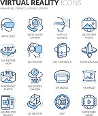 Simple Set of Virtual Reality Related Color Vector Line Icons. Contains such Icons as VR Helmet, 360 Degree Camera, Panoramic Photo and more. Editable Stroke. 64x64 Pixel Perfect.