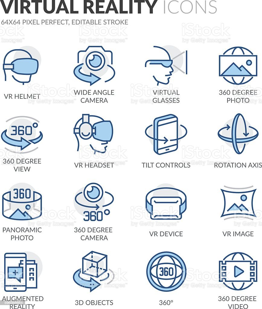 Line Virtual Reality Icons vector art illustration