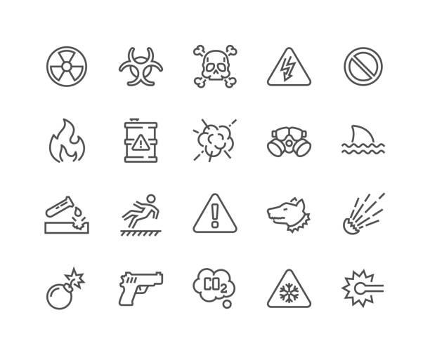 선 경고 아이콘 - 독성 물질 stock illustrations