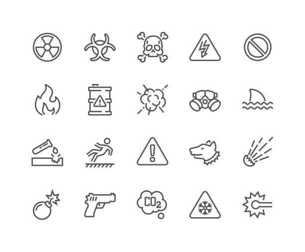 Line Warnings Icons Simple Set of Warnings Related Vector Line Icons. Contains such Icons as Toxic, Explosive, Flammable and more. Editable Stroke. 48x48 Pixel Perfect. poisonous stock illustrations