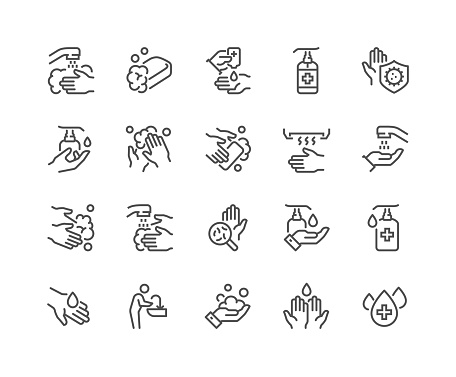 Line Washing Hands Icons
