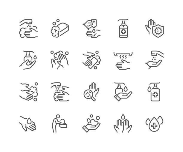 ライン洗浄手アイコン - 体 洗う点のイラスト素材/クリップアート素材/マンガ素材/アイコン素材