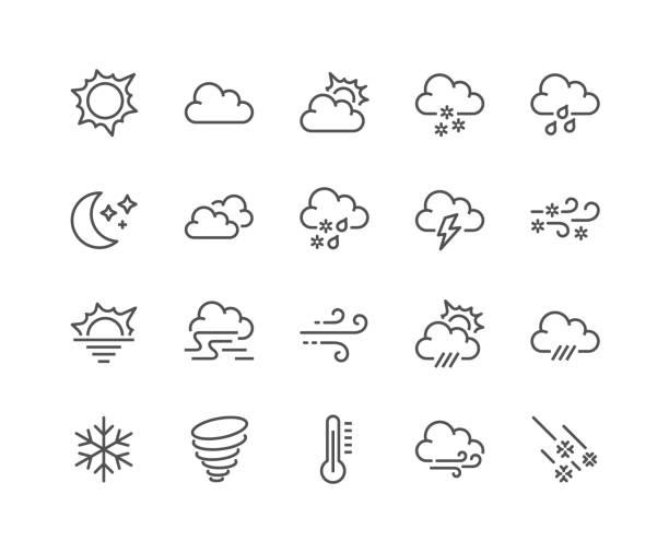 linie-wetter-icons - schneeflocke sonnenaufgang stock-grafiken, -clipart, -cartoons und -symbole