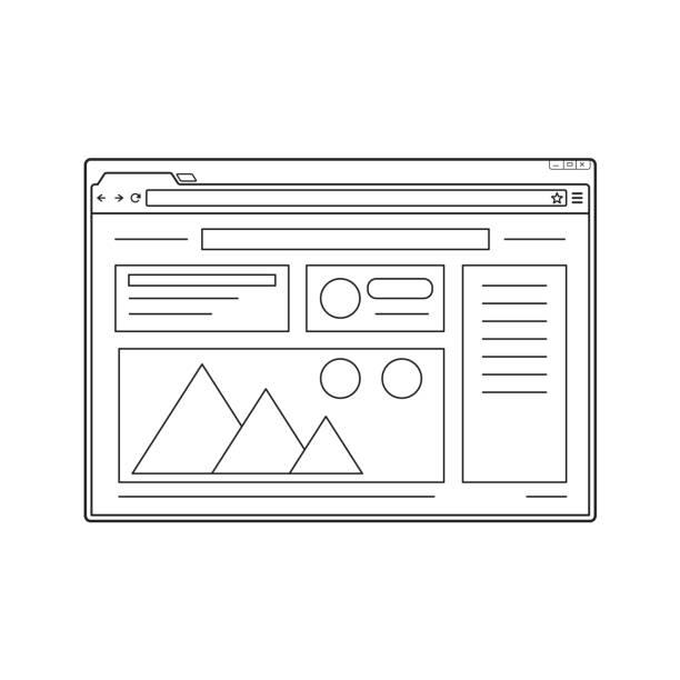Linie-Web-Browser-Fenster-Modell. Website-Seitenvorlage. – Vektorgrafik