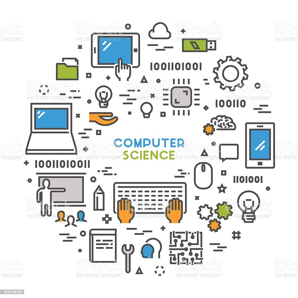 Technology Management Image: Line Web Concept For Computer Science Stock Vector Art