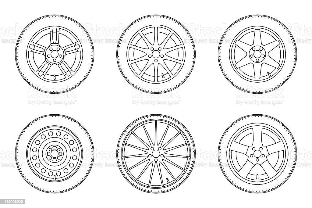 Line wheels set. vector art illustration