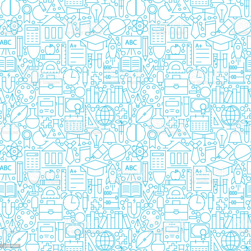 Line White Education Seamless Pattern - ilustración de arte vectorial