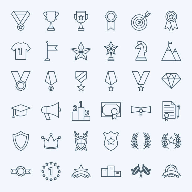 Line Win Award Icons Line Win Award Icons. Vector Set of Thin Outline Competition Symbols. bay leaf stock illustrations