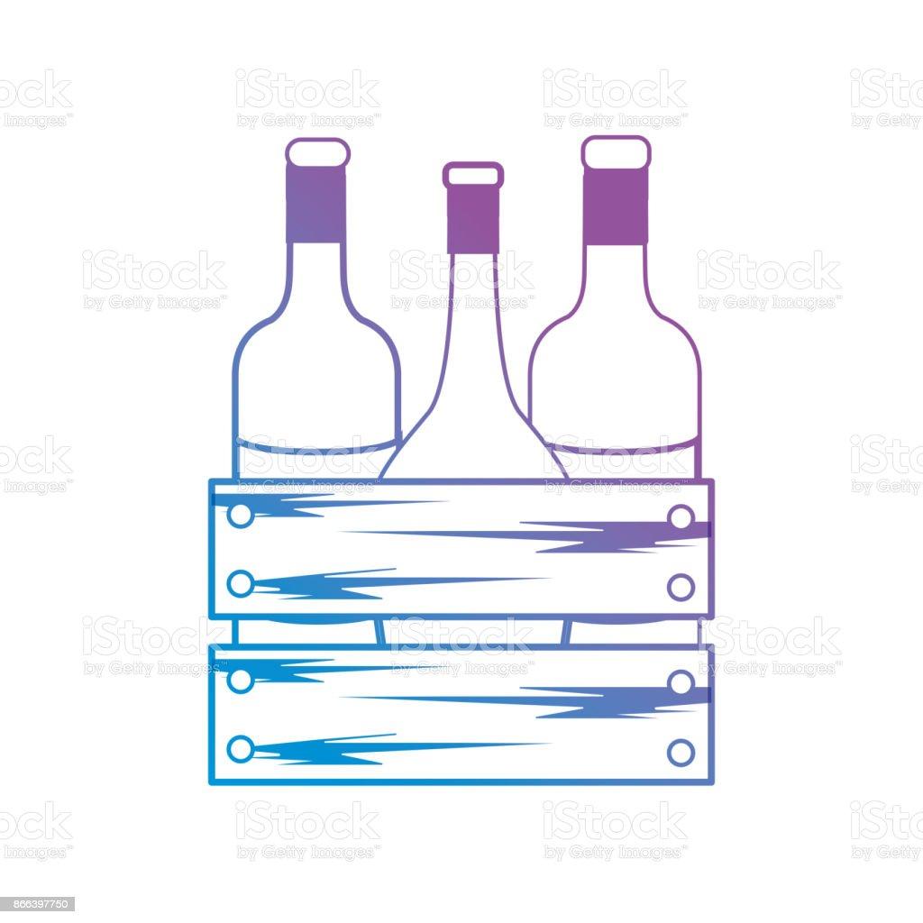 Linie Weinflaschen In Holz Box Stock Vektor Art und mehr Bilder von ...