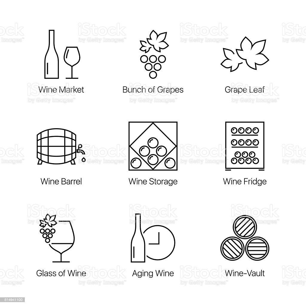 line wine icons set