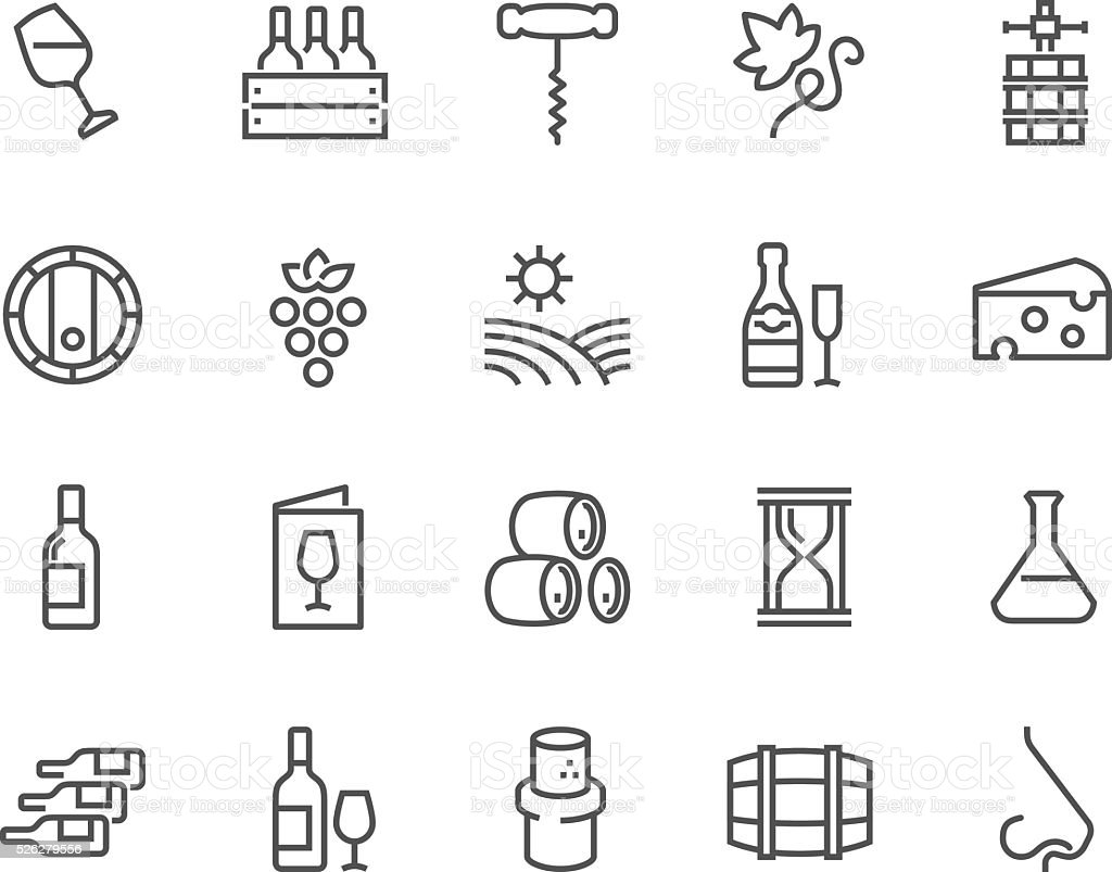 Line Wine Icons vector art illustration