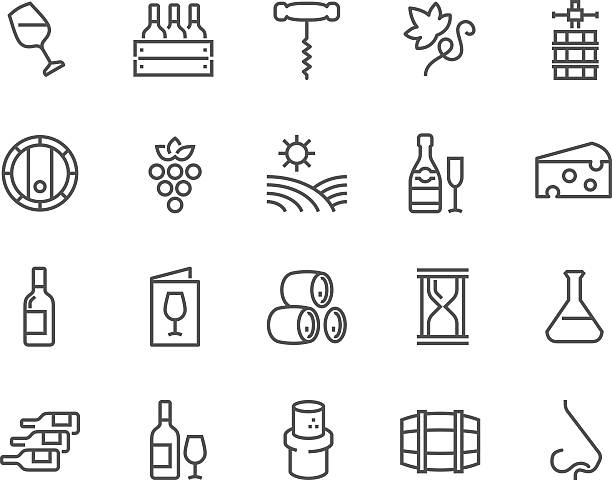 stockillustraties, clipart, cartoons en iconen met line wine icons - kurk