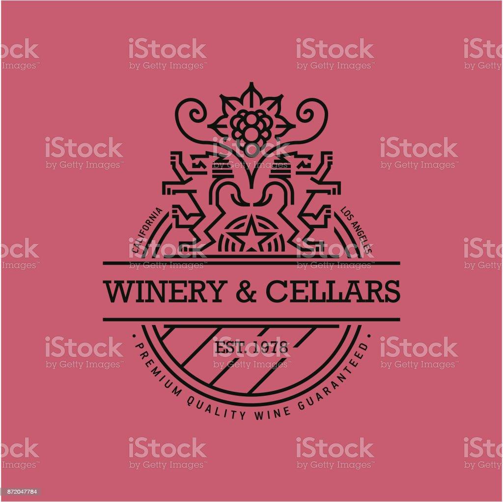 line wine label, winery