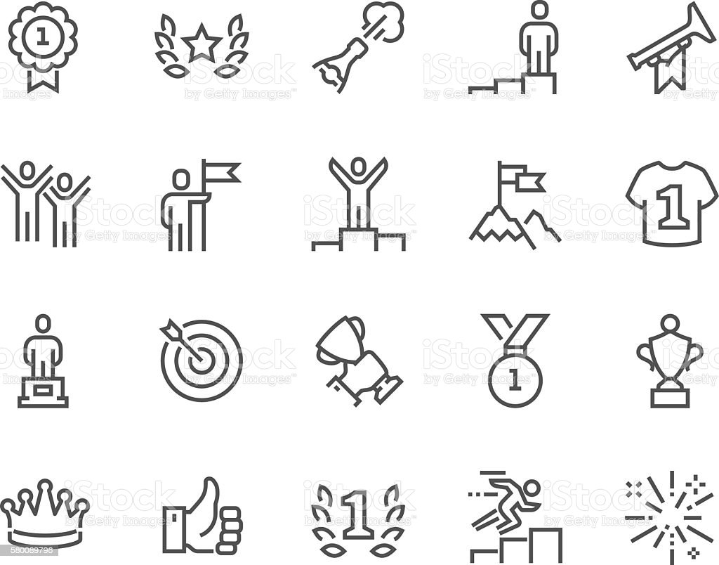 Line Winning Icons vector art illustration