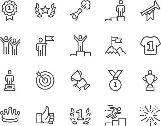 bildbanksillustrationer, clip art samt tecknat material och ikoner med line winning icons - happy driver