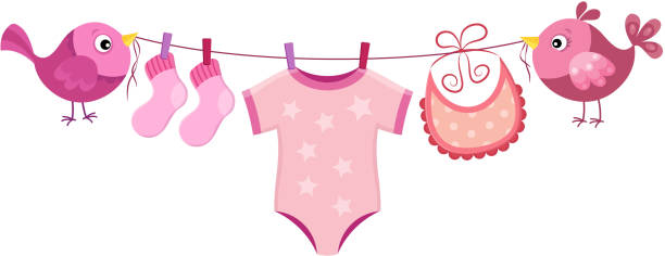 linie mit kleidung für babymädchen - catsuit stock-grafiken, -clipart, -cartoons und -symbole