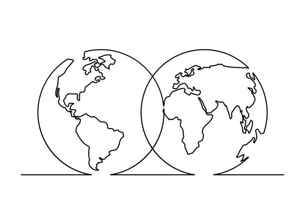 line16 Continuous line drawing of World map in Hemispheres. Vector illustration contour drawing stock illustrations