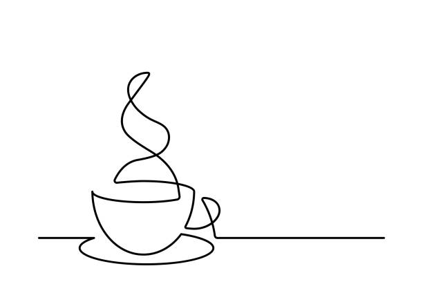 line25 Continuous line drawing of coffee cup on white background. Vector illustration cafe stock illustrations