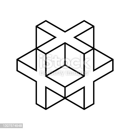istock Linear 3D cross or plus sign. Isometric cube shape made of crosses. 1207574548