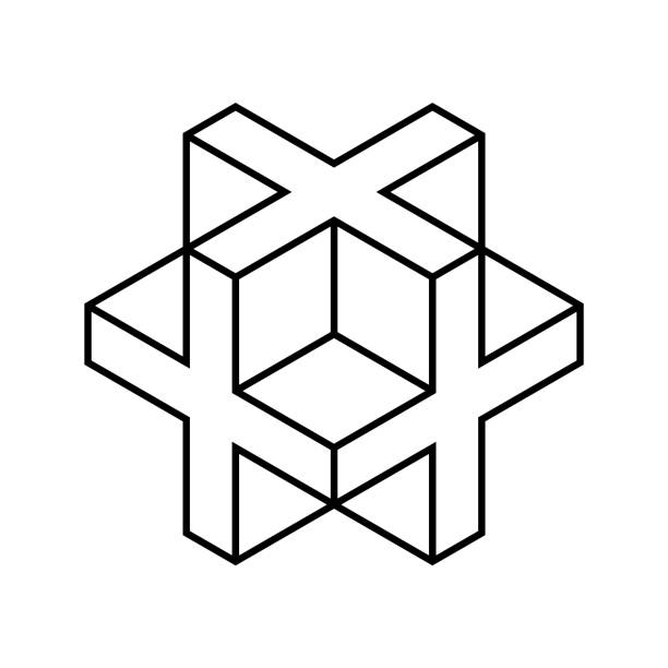 Linear 3D cross or plus sign. Isometric cube shape made of crosses. Necker cube figure outline. Abstract geometric object. Sacred geometry. Line drawing logo design. Vector illustration, clip art. 3d icons stock illustrations
