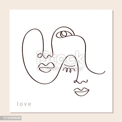 istock Linear abstract couple faces 1215305508