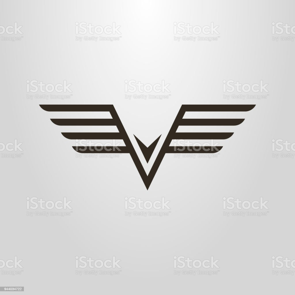 linear abstract icon of flying bird