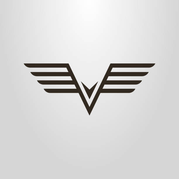 linear abstract icon of flying bird black and white linear abstract icon of flying bird air force stock illustrations