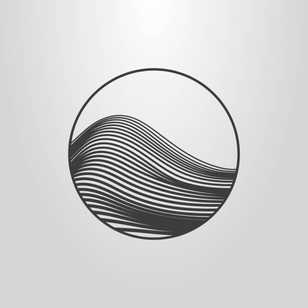 lineare abstrakte berg-symbol - landscape crazy stock-grafiken, -clipart, -cartoons und -symbole