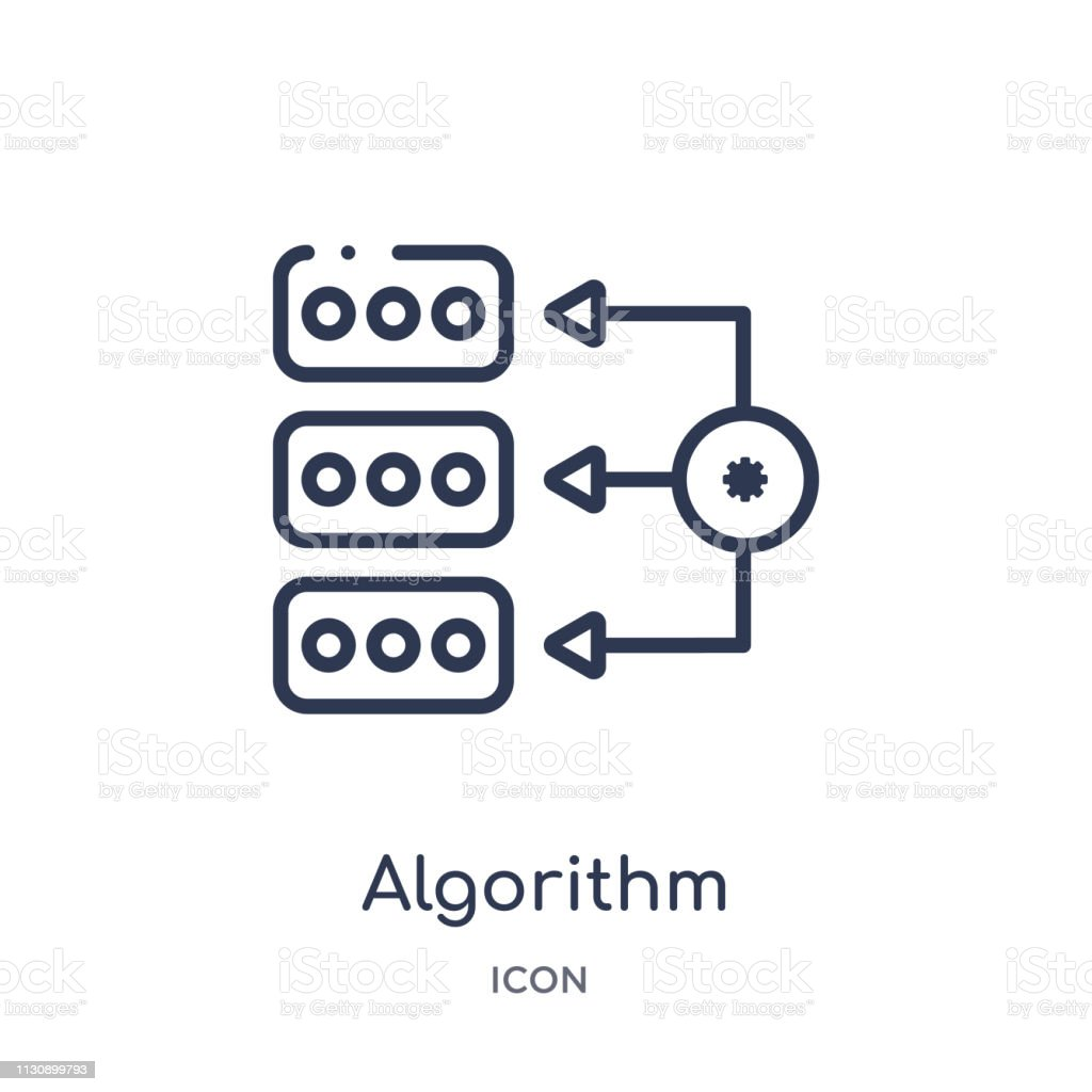 Linear algorithm icon from Artifical intelligence outline collection. Thin line algorithm vector isolated on white background. algorithm trendy illustration vector art illustration