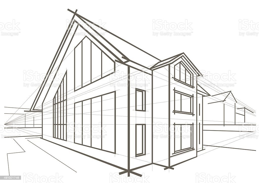 Linear architectural sketch detached house stock vector for Dibujo arquitectonico