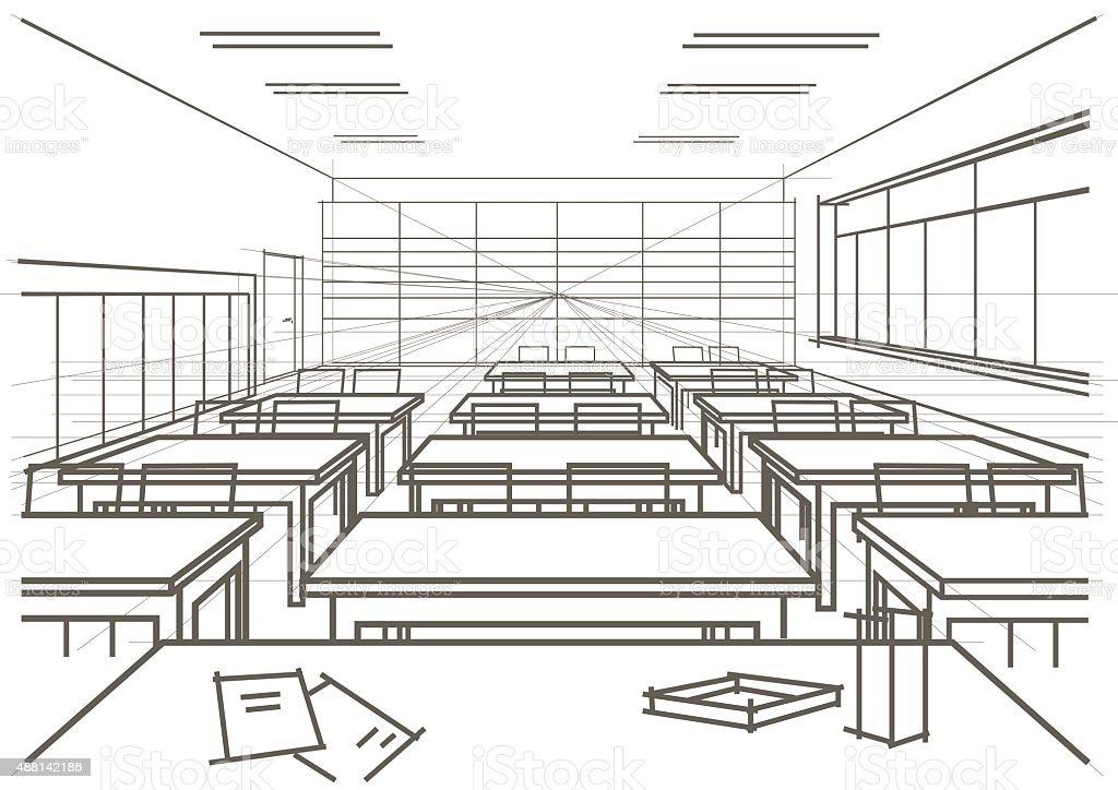 Linear Architektonische Skizze Innenraum Mit Parlamentarischer ...