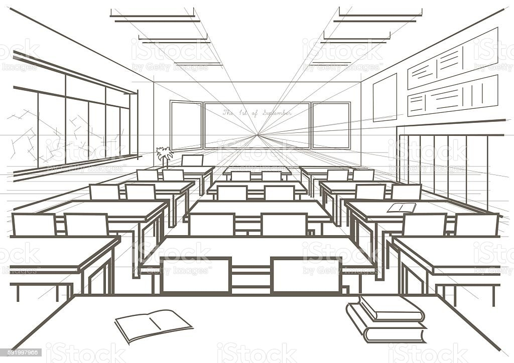 Classroom Design Sketch : Linear architectural sketch interior school classroom
