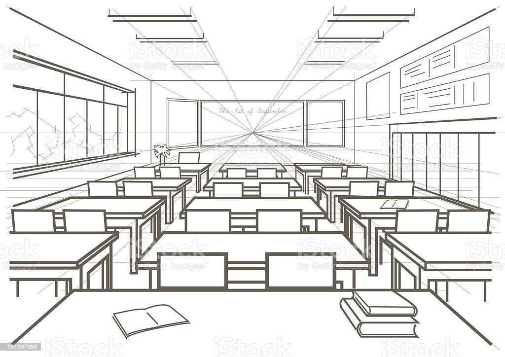 linear architectural sketch interior school classroom vector art illustration