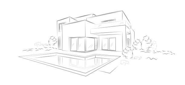 modernes einfamilienhaus lineare architektonische skizze - 694468930  stock-grafiken, -clipart, -cartoons und -symbole