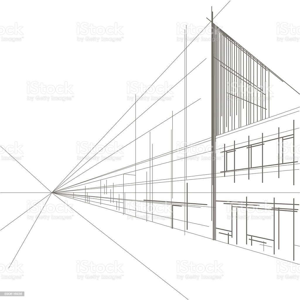linear architectural sketch perspective of street vector art illustration