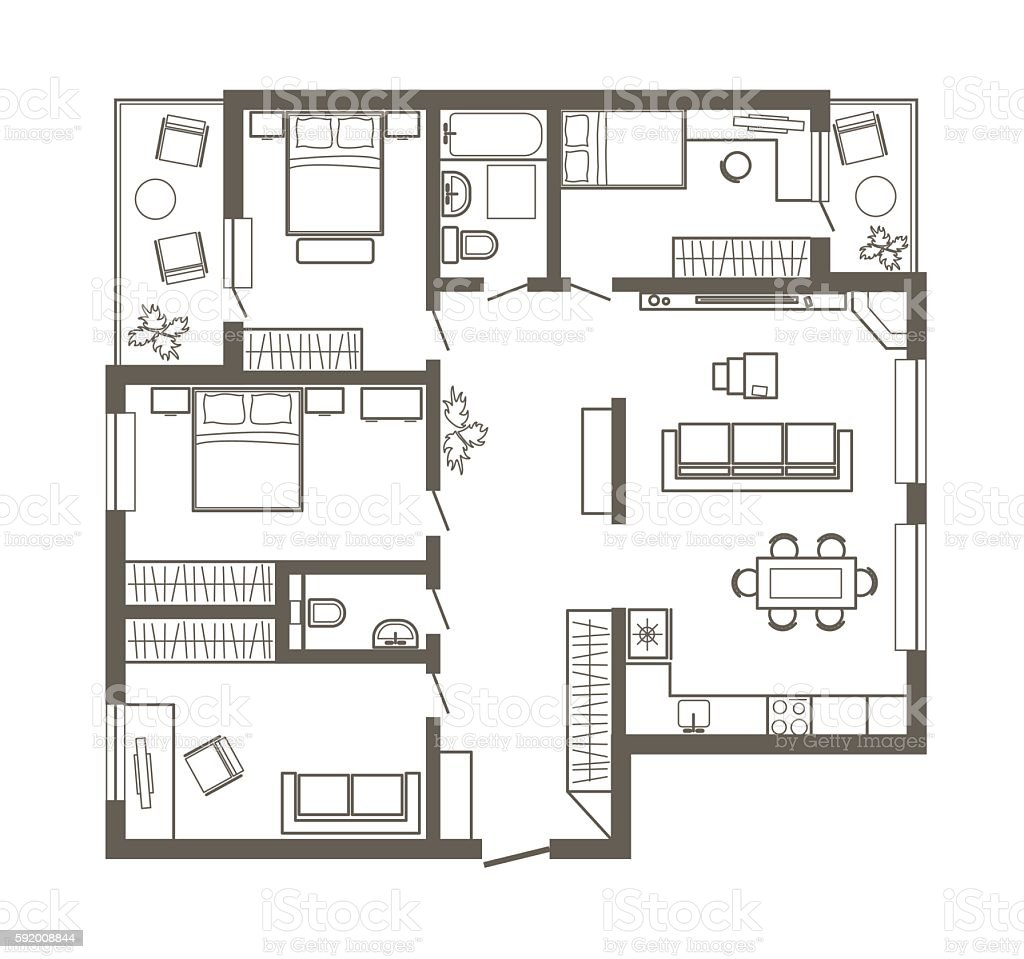 Linear Architectural Sketch Plan Of Four Bedroom Apartment ...