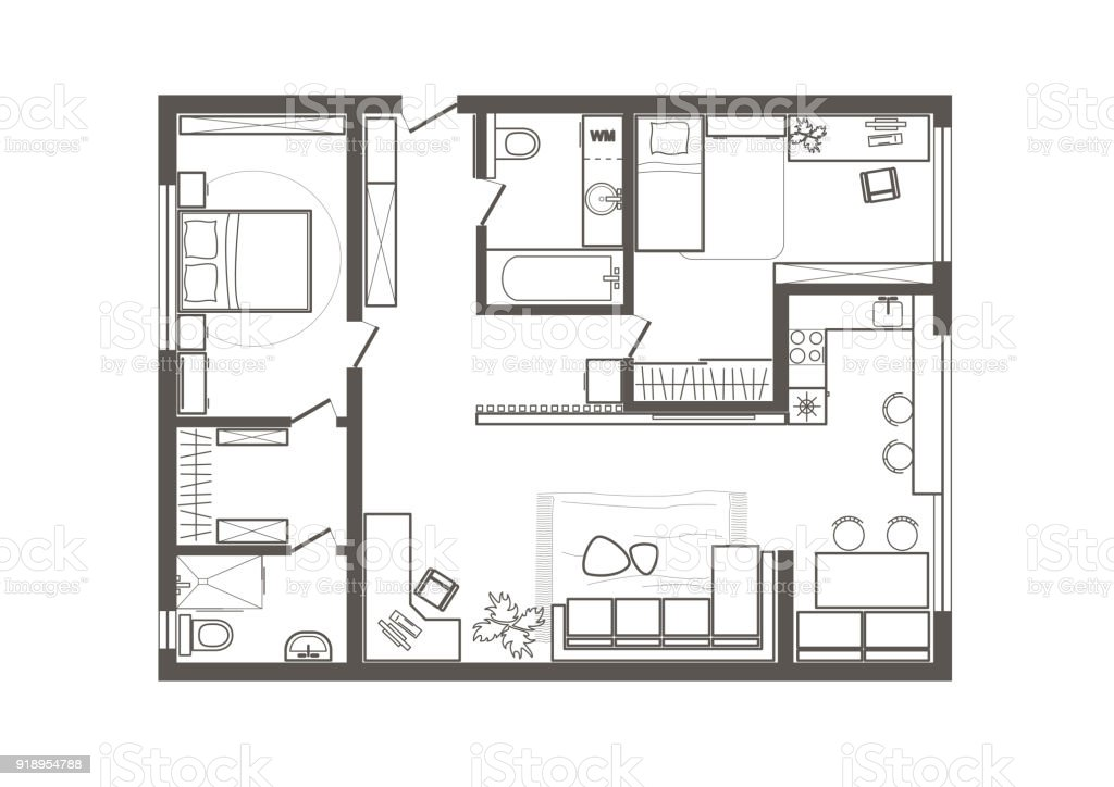 plan d'appartement 2 chambres
