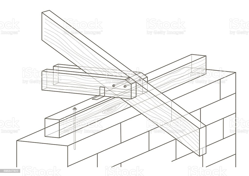 Linear Architectural Sketch Roof Construction Stock Illustration